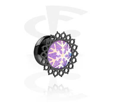 Tunnels & Plugs, Black Single Flared Tunnel with Winter Snowflake Design, Surgical Steel 316L