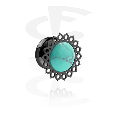 Tunnels & Plugs, Black Single Flared Tunnel, Surgical Steel 316L