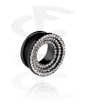Tunnels & Plugs, Tunnel noir avec strass, Acier chirurgical 316L