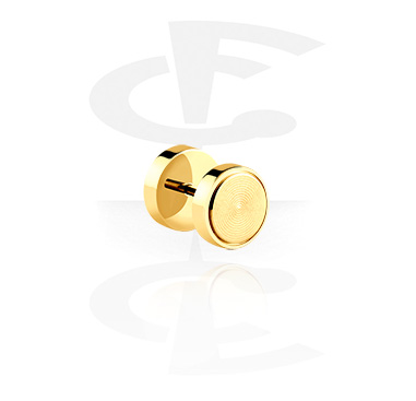 Fake Piercings, Fake Plug, Gold-Plated Surgical Steel