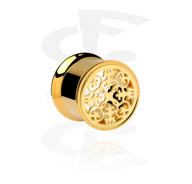 Tunnels & Plugs, Double Flared Tunnel, Gold Plated Steel