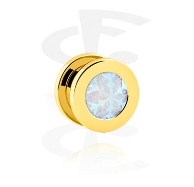 Tunnels & Plugs, Tunnel with Snowflake Design, Gold Plated Surgical Steel 316L