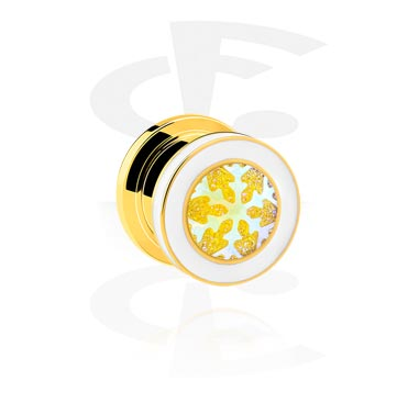 Tunnels & Plugs, Tunnel with Snowflake Design, Gold Plated Surgical Steel 316L, Surgical Steel 316L
