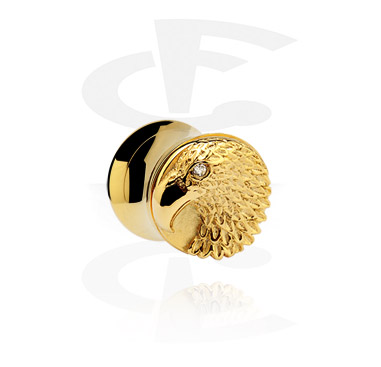 Tunnels & Plugs, Vergulde 3D-Flesh Tunnel, Chirurgisch staal 316L