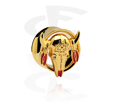 Tunele & plugi, Gold Plated 3D Flesh Tunnel, Surgical Steel 316L