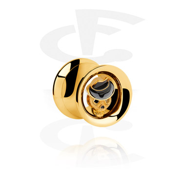 Double Flared Tube with jeweled Skull<br/>[Gold Plated]