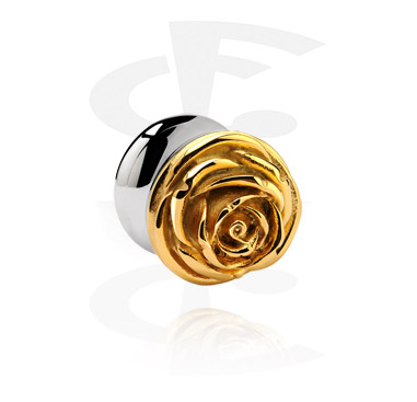 Tunely & plugy, Gold Plated 3D Flesh Tunnel, Surgical Steel 316L