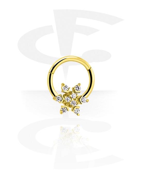 Renkaat, Monikäyttönipistin kanssa snowflake ja crystal stones, Kultapinnoitteinen kirurginteräs 316L