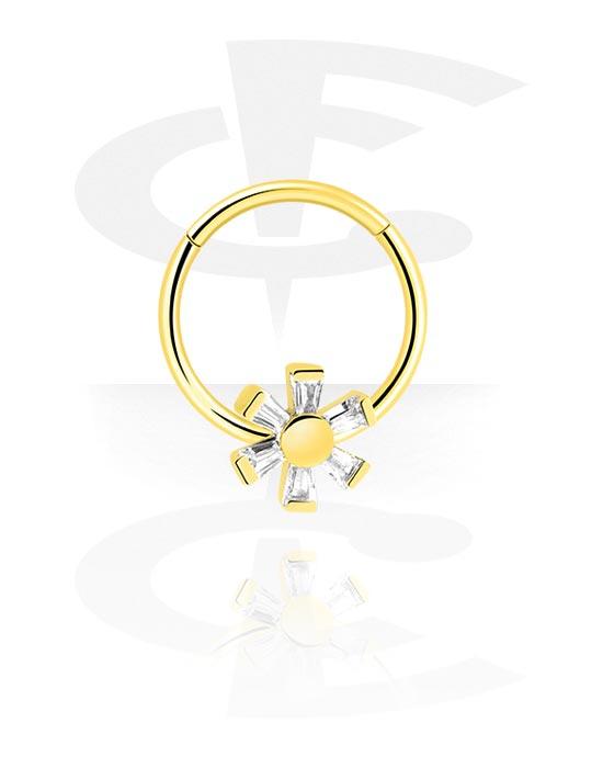 Renkaat, Monikäyttönipistin kanssa Flower ja crystal stones, Kultapinnoitteinen kirurginteräs 316L