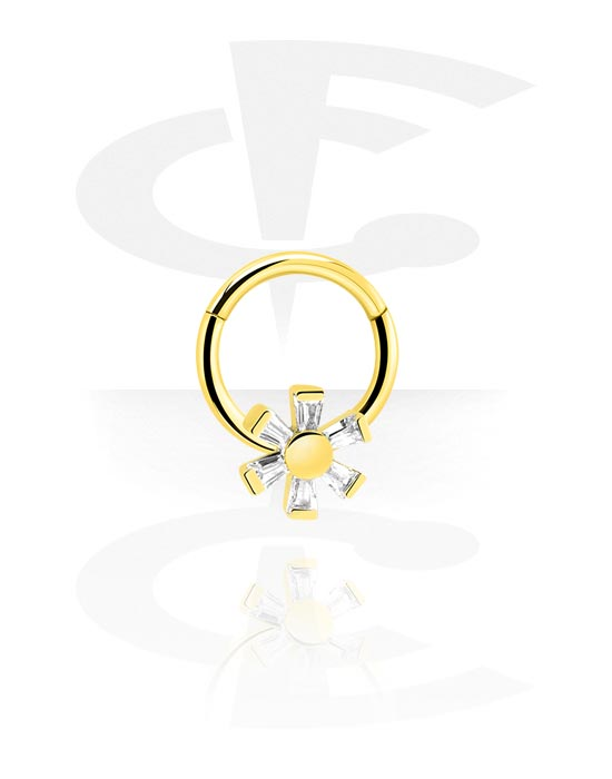 Alke za piercing, Višenamjenski kliker s Flower i crystal stones, Pozlaćeni kirurški čelik 316L