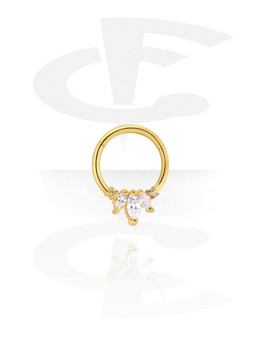 Piercingové kroužky, Víceúčelový clicker s crystal stones, Pozlacená chirurgická ocel 316L