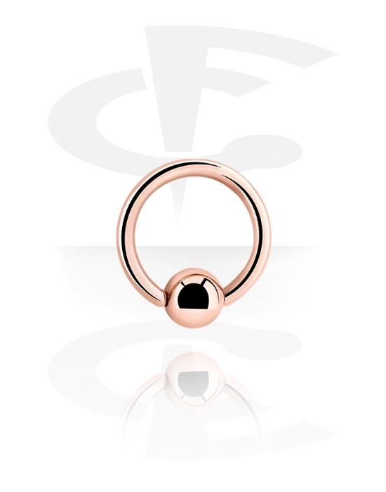 Kółka do piercingu, Ball closure ring, Stal chirurgiczna powlekana różowym złotem 316L