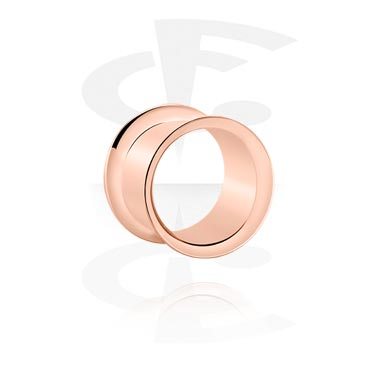 Tunnels & Plugs, Double Flared Tunnel, Rosegold Plated Surgical Steel 316L