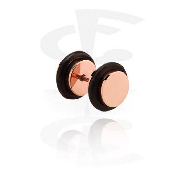 Fake Piercing, Fake plug con placcatura in oro rosato, Acciaio chirurgico 316L
