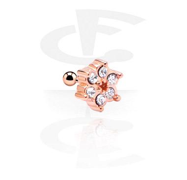 Helix / Tragus, Piercing para el tragus, Acero quirúrgico 316L chapado en oro rosa