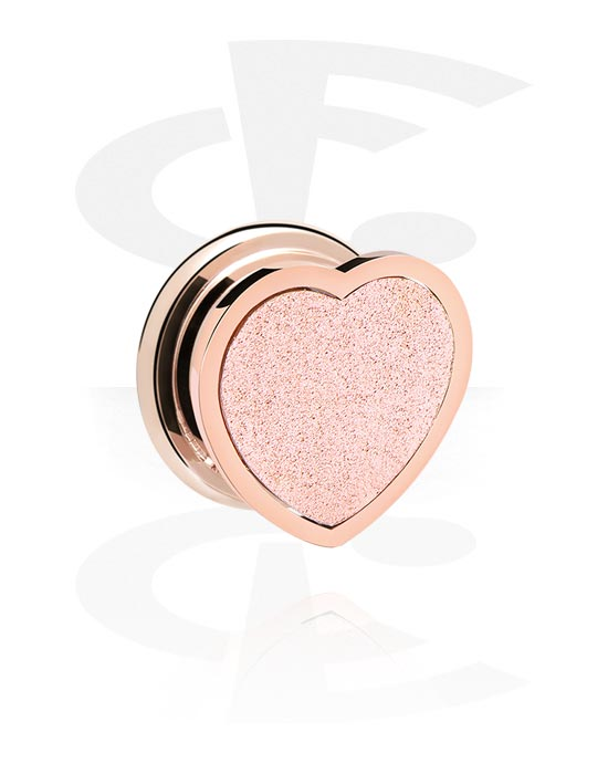 Tunnels & Plugs, Tunnel with Heart Design, Rose Gold Plated Surgical Steel 316L
