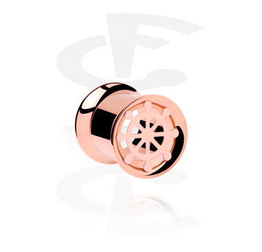 Tunely & plugy, Double Flared Tube, Rose Gold Plated Steel