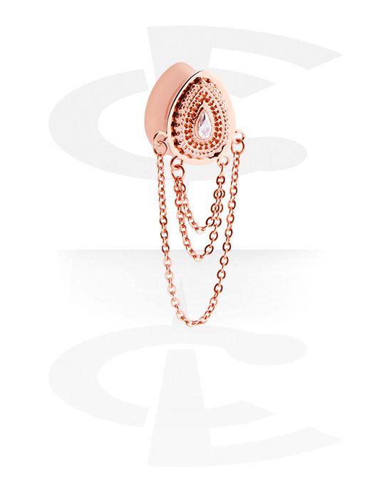 Tunnel & Plug, Double flared plug a forma di goccia con brillantino e collana, Acciaio chirurgico 316L placcato in oro rosa