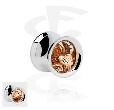 Tunely & plugy, Double Flared Tube with 3D Frog<br/>[Surgical Steel 316L/Rosegold], Rose Gold Plated Steel