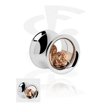 Tunele & plugi, Double Flared Tube with 3D Squirrel<br/>[Surgical Steel 316L/Rosegold], Rose Gold Plated Steel