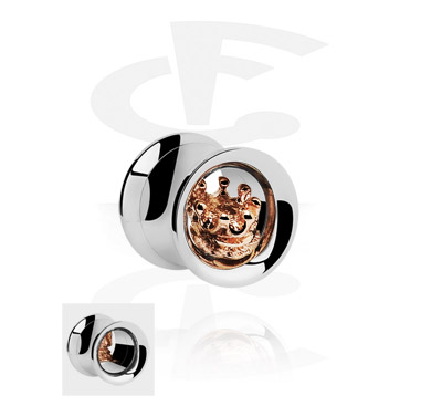 Double Flared Tube with 3D Crown<br/>[Surgical Steel 316L/Rosegold]
