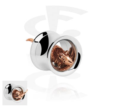 Tunely & plugy, Double Flared Tube with 3D Rat<br/>[Surgical Steel 316L/Rosegold], Rose Gold Plated Steel