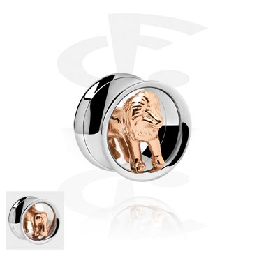 Tunely & plugy, Double Flared Tube with 3D Lion<br/>[Surgical Steel 316L/Rosegold], Rose Gold Plated Steel