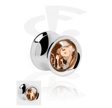 Double Flared Tube with 3D Cat<br/>[Surgical Steel 316L/Rosegold]