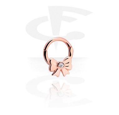 Piercing al Naso, Septum Clicker con brillantino, Acciaio chirurgico 316L, Oro rosato