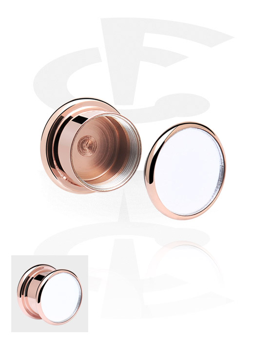 Tunnels & Plugs, Box Plug, Rose Gold Plated Surgical Steel 316L