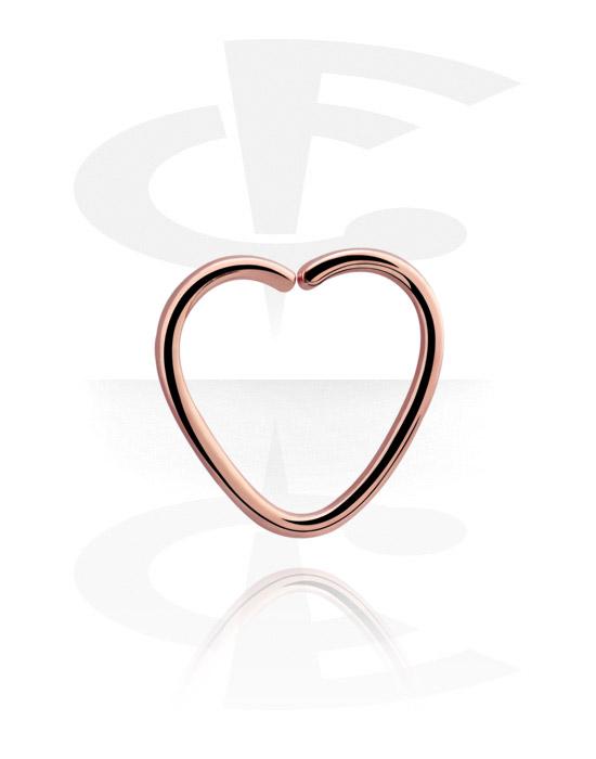 Kółka do piercingu, Heart-shaped Continous Ring<br/>[Surgical Steel 316L/Rosegold], Stal chirurgiczna powlekana różowym złotem 316L