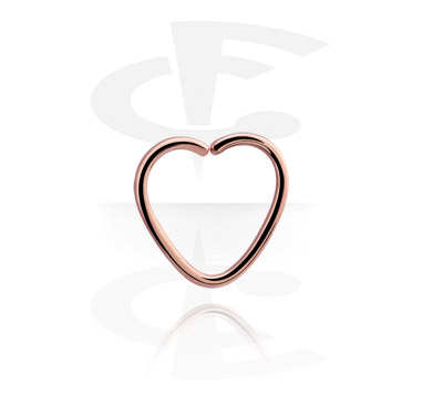 Piercingové kroužky, Heart-shaped Continous Ring<br/>[Surgical Steel 316L/Rosegold], Rose Gold Plated Steel