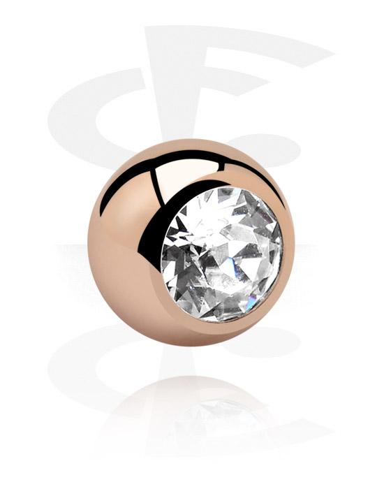 Kulor, stavar & mer, Kula med kristallsten, Roséförgyllt kirurgiskt stål 316L