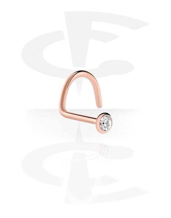 Kolczyki do nosa, Jewelled Nose Stud, Stal chirurgiczna powlekana różowym złotem 316L