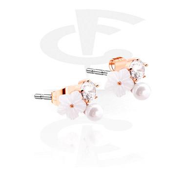 Earrings, Studs & Shields, Ear Studs, Rosegold Plated Surgical Steel 316L