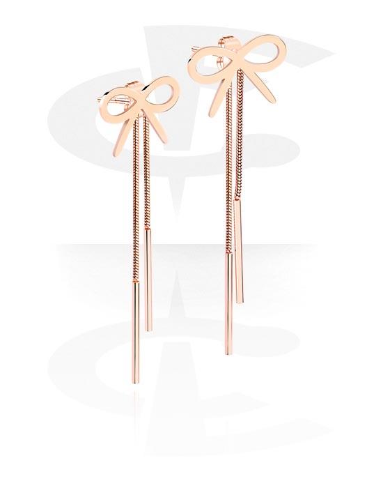 Naušnice, Ear Studs, Kirurški čelik pozlaćen ružičastim zlatom 316L