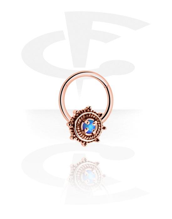 Alke za piercing, Višenamjenski kliker s Flower i Synthetic Opal, Kirurški čelik pozlaćen ružičastim zlatom 316L