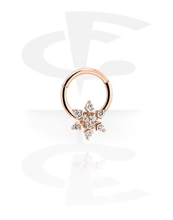 Alke za piercing, Višenamjenski kliker s snowflake i crystal stones, Kirurški čelik pozlaćen ružičastim zlatom 316L