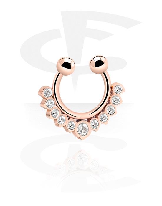 Lažni piercing nakit, Fake septum, Kirurški čelik pozlaćen ružičastim zlatom 316L