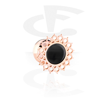 Tunnels & Plugs, Single Flared Plug, Rosegold Plated Surgical Steel 316L