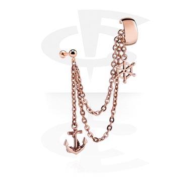 Piercing hélix avec chaîne et pendentif ancre