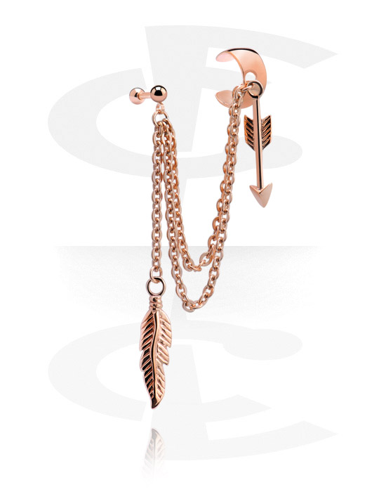 Helix / Tragus, Ear Cuff, Rosegold Plated Surgical Steel 316L
