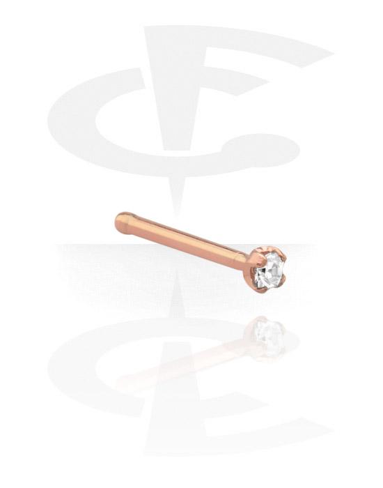 Nasenpiercings & Septums, Nasenstecker mit Kristallstein, Rosé-Vergoldeter Chirurgenstahl 316L