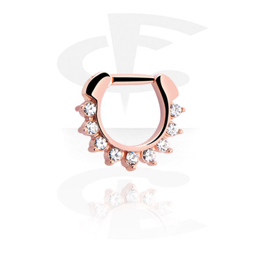 Nosovky a kroužky do nosu, Jewelled Septum Clicker, Rose Gold Plated Steel