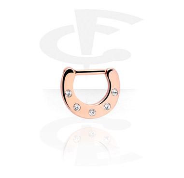 Kolczyki do nosa, Jewelled Septum Clicker, Rose Gold Plated Steel