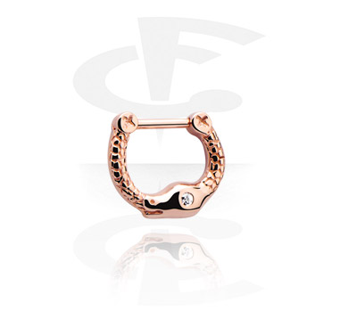 Kolczyki do nosa, Jewelled Septum Clicker, Rose Gold Plated Steel