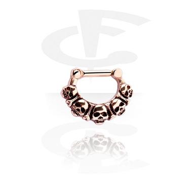 Kolczyki do nosa, Septum Clicker, Rose Gold Plated Steel