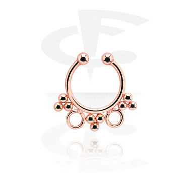 Imitacja biżuterii do piercingu, Fake Septum, Rose Gold Plated Steel
