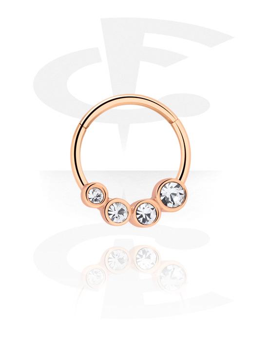 Piercingové kroužky, Víceúčelový clicker s crystal stones, Chirurgická ocel 316L pozlacená růžovým zlatem