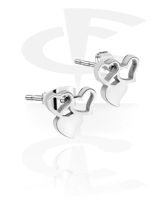Earrings, Studs & Shields, Ear Studs with Heart Design, Surgical Steel 316L